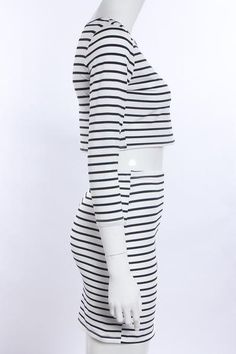 Unique Striped Bodycon Stretch style and two pieces dresses design makes women more sexy and fashionMaterial: PolyesterColor:  StripeCollar: O-NeckSleeve: Long