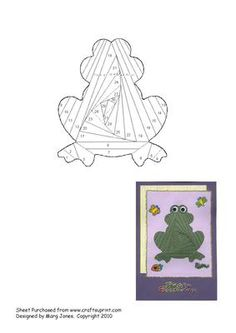 Frog Iris Folding Pattern on Craftsuprint designed by Margaret Jones - Easy pattern to make a cute frog card, maybe for a little boy who collects them (!) - Now available for download!