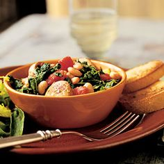 101 Healthy Soup Recipes | White Bean and Sausage Ragout with Tomatoes Kale and Zucchini | CookingLight.com