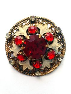 Vintage Brooch with red stones and white by RetroVintageWorld