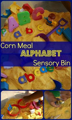 An easy to set up corn meal sensory bin which can be turned into any learning sensory bin. Post has some learning ideas for plat.