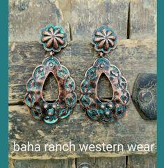 Cowgirl Bling Gypsy Concho EARRINGS copper patina tone southwestern western