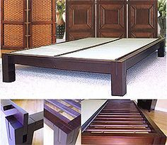 tall tatami platform bed frame in dark walnut with 15in high legs this japanese style