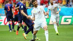 Xabi Alonso of Spain celebrates after scoring a goal on a penalty kick in the first half during the 2014 FIFA World Cup Brazil Group B match between Spain and Netherlands at Arena Fonte Nova on June 13, 2014