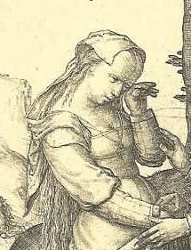 """Detail of """"St George rescues the Princess"""", Lucas van Leyden 1508-9"""