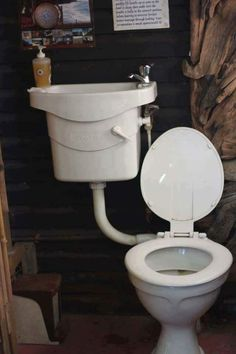 Bathroom Decor grey toilet uses basin wa Join Our - bathroomdecor Tiny Bathrooms, Tiny House Bathroom, Rustic Bathrooms, Small Bathroom, Bathroom Ideas, Bathroom Grey, Tiny House Living, Tiny House Plans, Tiny House Design