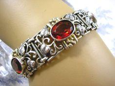 ?Jugendstil bracelet. Silver and amber.