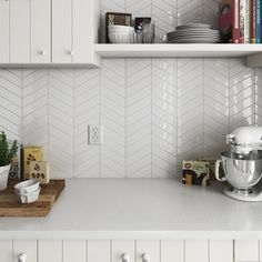 69c499db589 Chevron White Right 18.6 x 5.2cm Wall Tile PER BOX