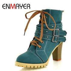 ENMAYER Fashion Women Boots Style Lace Up High Heels Boots Waterproof Platform Ankle Boots for Women Shoes New Sale Shoes Women  #iwant #instalike #fashionista #model #style #beautiful #glam #stylish #fashion #dress