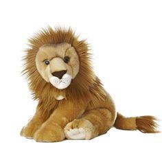 Realistic Stuffed Lion 14 Inch Sitting Plush Wild Cat by Aurora