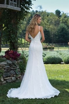 Sincerity Bridal - Style 3980: Lace Fit and Flare Gown with Spaghetti Straps and Deep V-Back