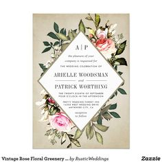 Vintage Rose Floral Greenery Wedding Invitations Vintage Rose Floral Greenery Wedding Invitations - feature a beautiful vintage background with a modern text box overlaying various greenery springs and leaves. The design also features pink and other colored roses. View the full matching collection link found on this page to complete the look for your event. You'll see a collage of the products found in this collection to give you a visual of the possibilities