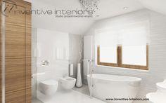 Projekt łazienki Inventive Interiors - jasna łazienka na poddaszu - wanna wolnostojąca