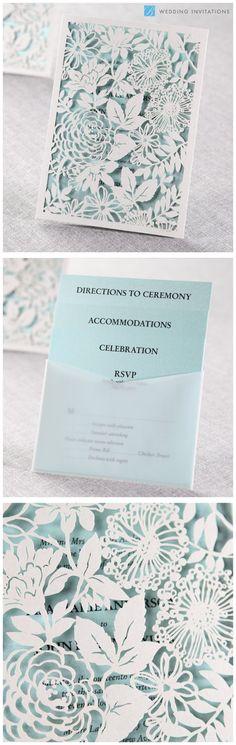 Magical Garden Invitation by B Wedding Invitations  #weddinginvitations  #invitations  #wedding  #blueinvitations  #lasercut #bweddinginvitations