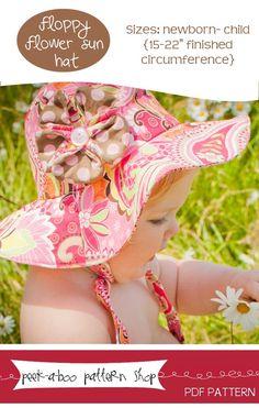 Floppy Flower Sun Hat: Newborn- Child