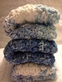 Cozy crotched dishcloths in Cuddly Blues  by AllAboutTheCozy, $6.00