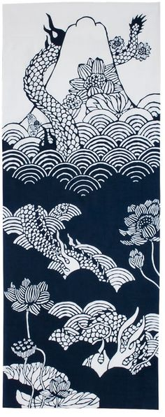Dark blue fujimi dragon tenugui by Mitsuko Ogura | http://panorama-index.jp/ogura_mitsuko/