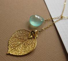 Gold Leaf  & Gemstone Necklace Lariat style Real by BriguysGirls, $36.00