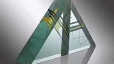 Glass Sculpture THE PATHS OF THE CRYSTAL PYRAMID Jiri Karel