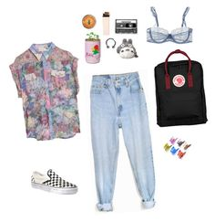 """make art not war"" by aliennbby on Polyvore featuring Levi's, Vans, Burt's Bees, Ghibli, CASSETTE, Fjällräven, Passionata and Zimmermann"