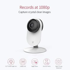 YI Home Camera, Wi-Fi IP Security Surveillance Smart System with Emergency Response, Night Vision, Dog Monitor on Phone App, Cloud Service - Works with Alexa surveillance camera Home Security Tips, Wireless Home Security Systems, Security Cameras For Home, Security Surveillance, Surveillance System, Wifi, Home Camera, Security Camera System, Nocturne