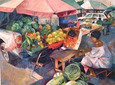 Oistins Market by Kirsten Dear is an oil on canvas.