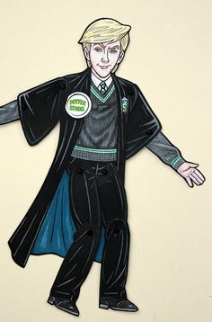 Draco Malfoy Articulated Paper Doll Slytherin by ArdentlyCrafted
