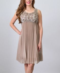 Another great find on #zulily! Champagne Silk-Blend Floral Pleated Sleeveless Dress #zulilyfinds