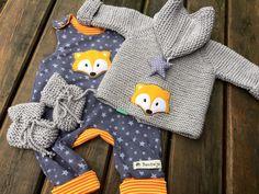 Babyklamotten: wunderschönes Set aus Pullover und Hose mit Füchsen und Sternen / baby clothes: cute set made of pullover and pants with foxes and stars made by Sonnenkinder via DaWanda.com
