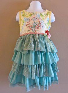 Boho Shabby and Chic Ruffly Girls Dress Pom Pom by IzzyRoo