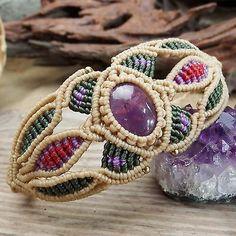 Macrame Bracelet Shamballa Cabochon Amethyst Stone Waxed Cord Handmade Handwoven