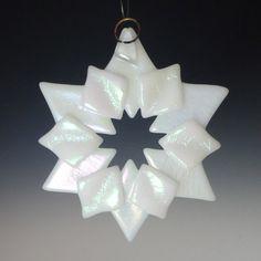 SOLSTICE White Iridized Fused Glass Snowflake Ornament Suncatcher via Etsy