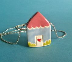 House Necklace Pink Blue Garden Cottage Ceramic  Pendant Wearable Art House Charm
