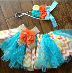 Ombré Chevron Tutu & headband set by CuckooTutu on Etsy, $35.00