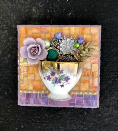 Series Of Half Cups - Delphi Artist Gallery Mosaic Crafts, Mosaic Projects, Art Projects, Costume Jewelry Crafts, Vintage Jewelry Crafts, Jewelry Wall, Jewelry Storage, Diy Jewelry, Jewelry Making
