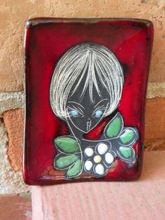 Big Eyed 1960s Girl Glazed Pottery Trinket Dish by leonardos, $15.00