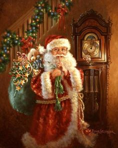 Santa Inside Home With Gifts christmas christmas pictures santa christmas gifs christmas images holiday gifs christmas photos santa gifs