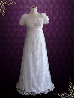 Travel back in time in this beautiful vintage style lace wedding dress. Featuring a regency style empire waist and elegant low cut back, you will feel like you're walking into Jane Austin's stories. Vintage Dresses, Vintage Outfits, Vintage Fashion, Fashion 1920s, Fashion 2017, Victorian Fashion, Fashion Outfits, Bridal Gowns, Wedding Gowns