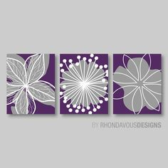 Home decor wall art purple and grey flower burst art for Purple dining room wall art