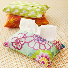 Scraps of bright print fabric are perfect for hiding unsightly tissue packs. Make them to match your room, your car, or your office.