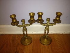 Shabbath Candleholders Brass Pair Standing Men 19th Century Poland - Windycity Art 4 U