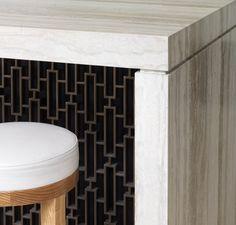 Tobias Partners 2013 Bronte House Hewn Western Australian limestone & screen detail on kitchen island.