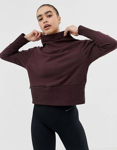 Buy Nike Yoga Sweatshirt In Burgundy at ASOS. With free delivery and return options (Ts&Cs apply), online shopping has never been so easy. Get the latest trends with ASOS now. Asos, Jogging, Adidas Originals, Crop Top And Leggings, Bodysuit, Nike Sweatshirts, Hoodies, Mode Online, Yoga Wear