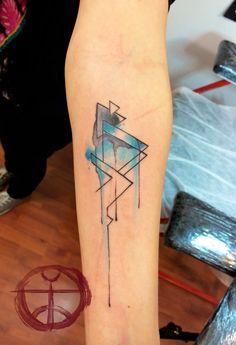 Simple Watercolor Pyramid Tattoo On Forearm By Koray Karagozler