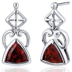 Ornate Class 2.00 Carats Garnet Trillion Cut Earrings in Sterling Silver Rhodium Nickel Finish