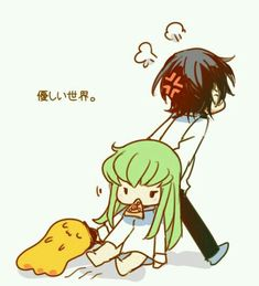 Chibi Lelouch and C.C.
