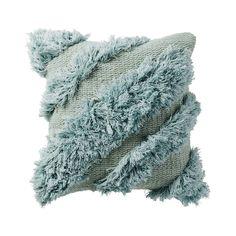 Cotton Tufted Aqua Shag Cushion