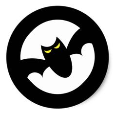 Bat in front of full moon cute spooky Halloween Classic Round Stickers. Cute and fun Halloween stickers featuring a black bat with glowing, yellow eyes in front of a white, full moon. Great as decorative Halloween stickers, favor and envelope seals. Matches the same style Halloween party invitations.