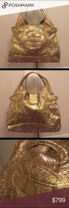 Sergio Rossi Gold Python Jumbo Handbag Cleaning out my closet!  Practically brand new Sergio Rossi Gold Python Handbag. Gorgeous bag with a major WOW factor. Double shoulder strap with interior pocket. Magnet closure.  Comes with dust bag. Sergio Rossi Bags Shoulder Bags