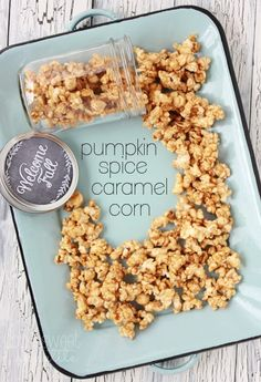 Pumpkin-spice-caramel-corn.. this is yummy as is, but I added just a bit more spice than what it calls for.  The best part of making this is the amazing smell it creates....yummy!
